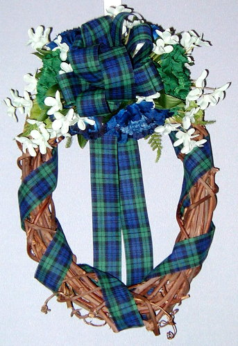 Oval wreath with Green and Blue Plaid ribbon